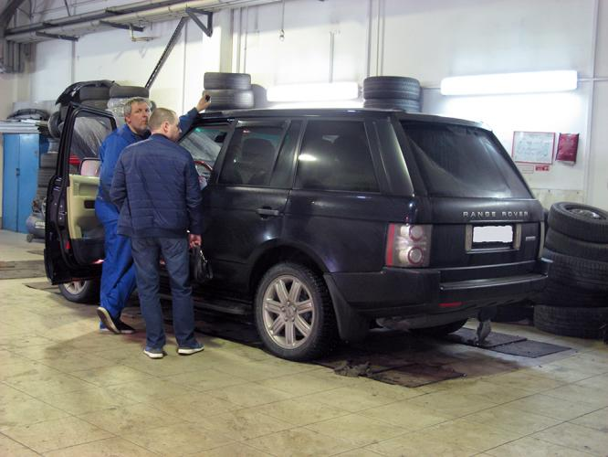 Горит чек Range Rover Vogue